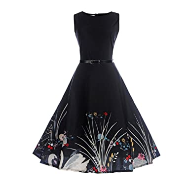 Nikuya Women Summer Floral Dress Vintage Casual Evening Mini Dress Beach Party Dress (Black,