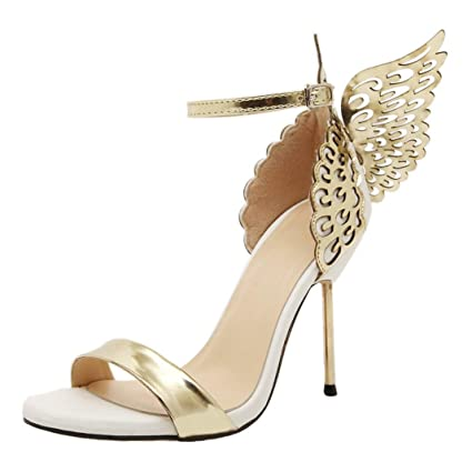 68c4fa24ead83 SUKEQ Fashion Women Butterfly Wings High Heel Open Toe Sandals, Ankle Strap  Princess Shoes Valentine