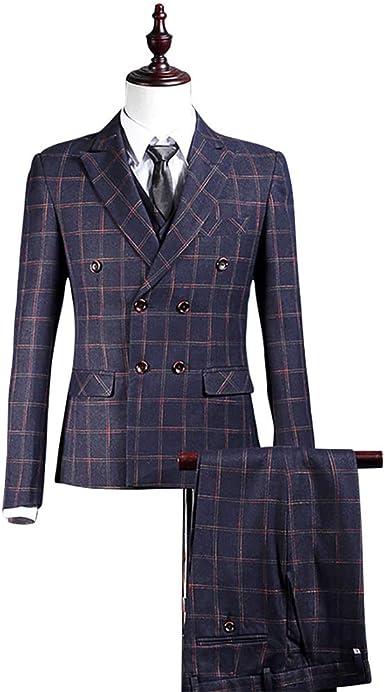 Green 3 Pieces Tweed Check Plaid Men/'s Vintage Suit Slim Fit Jacket Pants Vest