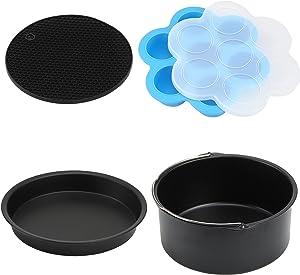 7 Inch Air Fryer Accessories(4 Pcs), Deep Fryer Accessories fits All 3.2QT - 5.8QT Air Fryer(Nonstick Coating,Dishwasher cleaning)