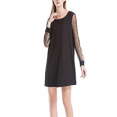 d15a40384b8 Doris Batchelor Stylish Womens Black Mini Dresses Pearl Beading Mesh Sleeve Dress  Summer Black O Neck Loose Dress at Amazon Women s Clothing store