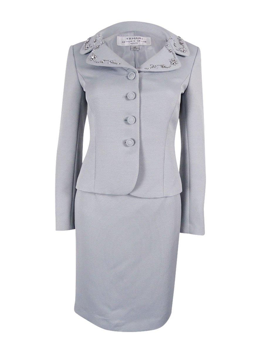 Tahari ASL Women's Petite Faille Skirt Suit with Beading, Granite, 2 Petite