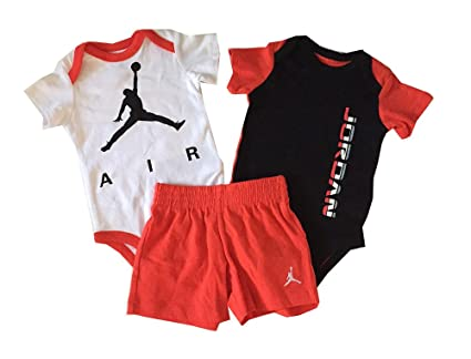 a9b99b56295 Image Unavailable. Image not available for. Color: Air Jordan Infant Boys 3  Piece Onesies and Shorts ...