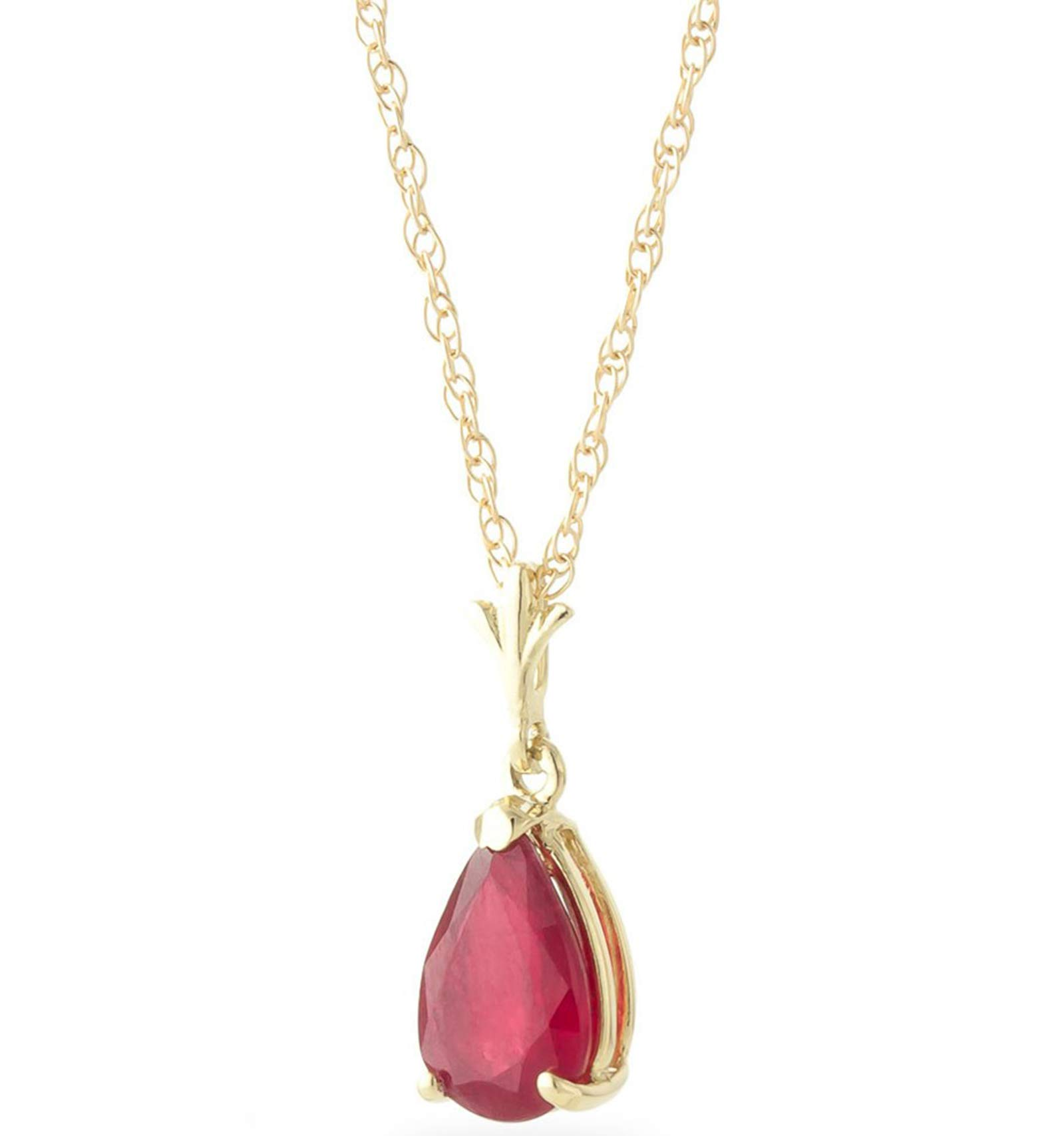 Galaxy Gold 1.75 Carat 14k 18'' Solid Gold Natural Pear-shaped Ruby Drop Pendant Necklace by Galaxy Gold (Image #1)