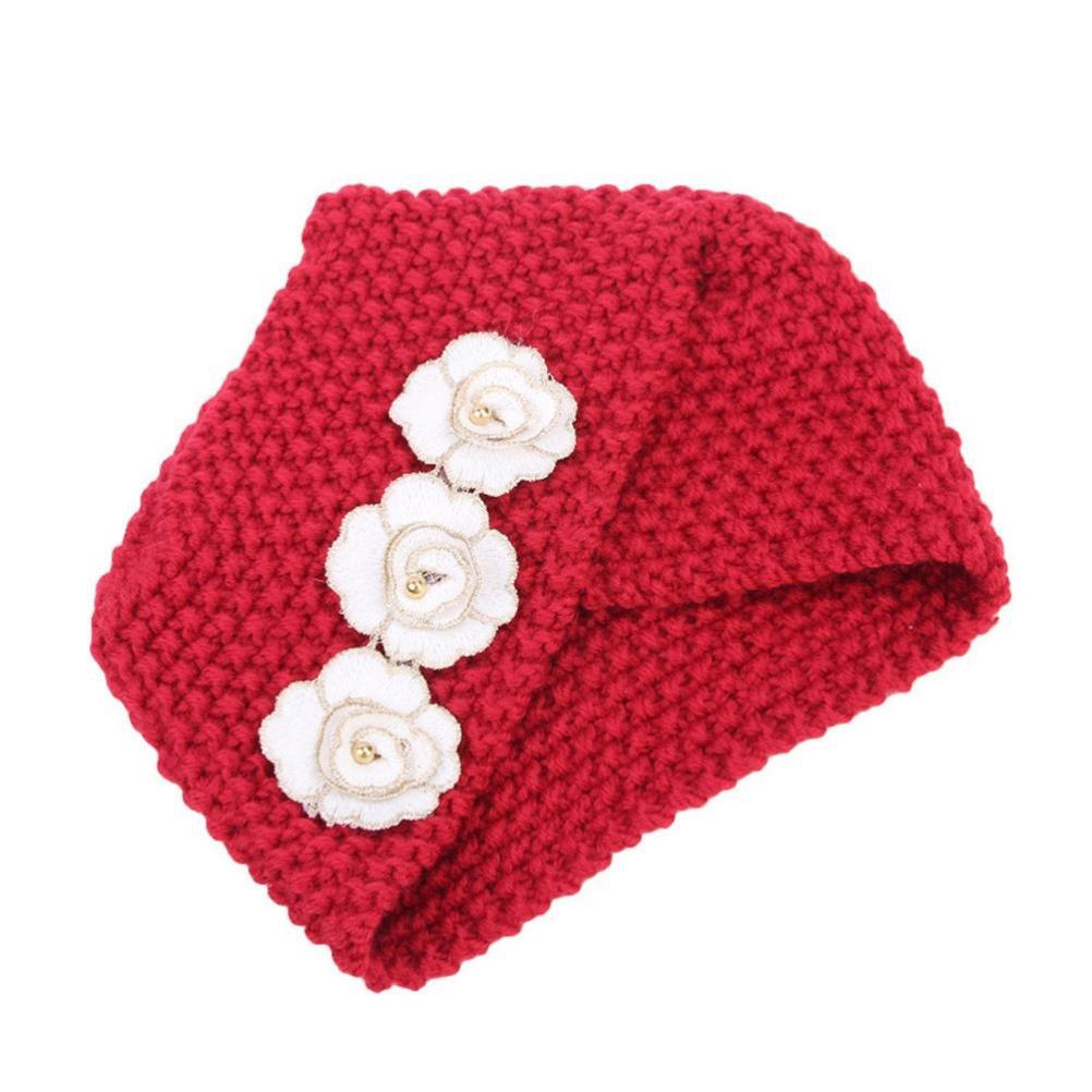 sukeqレディースビーニーChemoキャップのがん患者、Chunky Knitted花暖かいターバン帽子ヘッドラップfor春秋冬  レッド B07FPD13VK