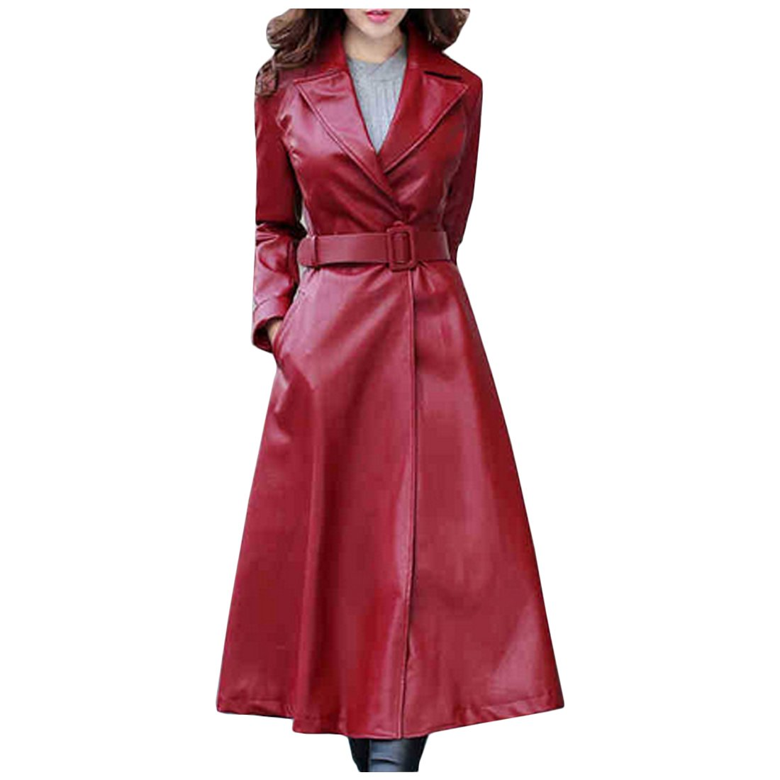 Partiss Women's Extra Long PU Leather Jacket Longline Winter Fall Warm Overcoat