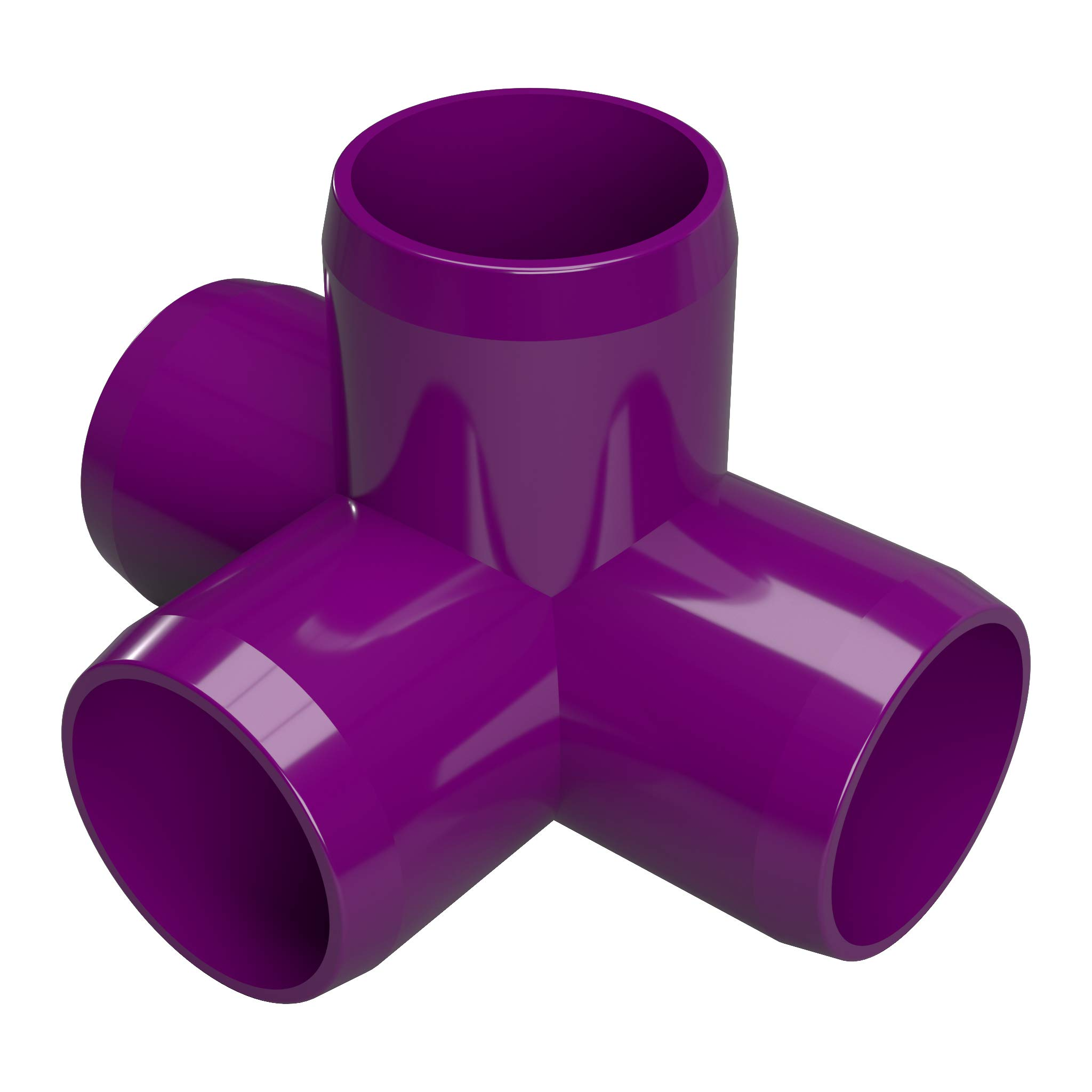 FORMUFIT F0124WT-PU-10 4-Way Tee PVC Fitting, Furniture Grade, 1/2'' Size, Purple (Pack of 10)