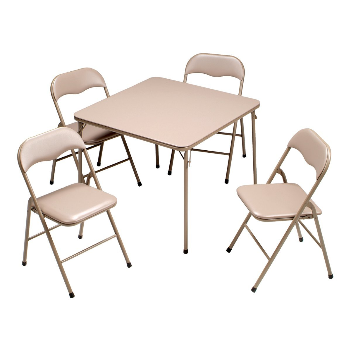 Amazon.com: Meco 5-Piece Folding Table and Chair Set, Black Frame ...