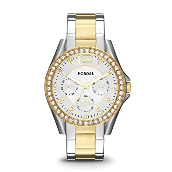 032dffe7fe7 Fossil Women s Riley Quartz Two-Tone Stainless Steel Chronograph Watch