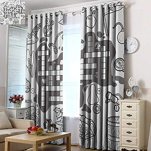 Acelik Simple Curtains Word Search Puzzle Colorless Pirates Themed Educational Puzzle Treasure Map and Icons Great for Living Rooms & Bedrooms 96