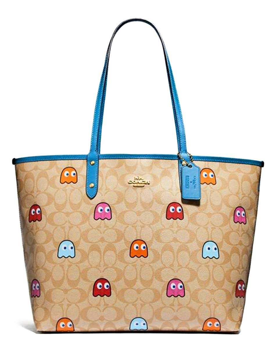 Coach Reversible City Tote in Signature Canvas with Pacman Ghost Print light Khaki River 72905, Large