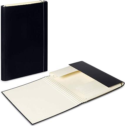 3 x Negro – Vanilla A4 Carpeta De Banda Elástica Caja de almacenaje de archivos carpeta Carpetas de papel cartón duro Organizador Duo colores: Amazon.es: Oficina y papelería
