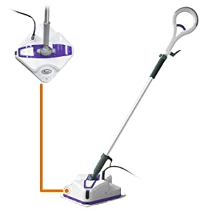 LIGHT 'N' EASY Mop Cleaning Steamer for Hardwood Tile and Laminate Floor, with Automatic Steam Control (White Violet)