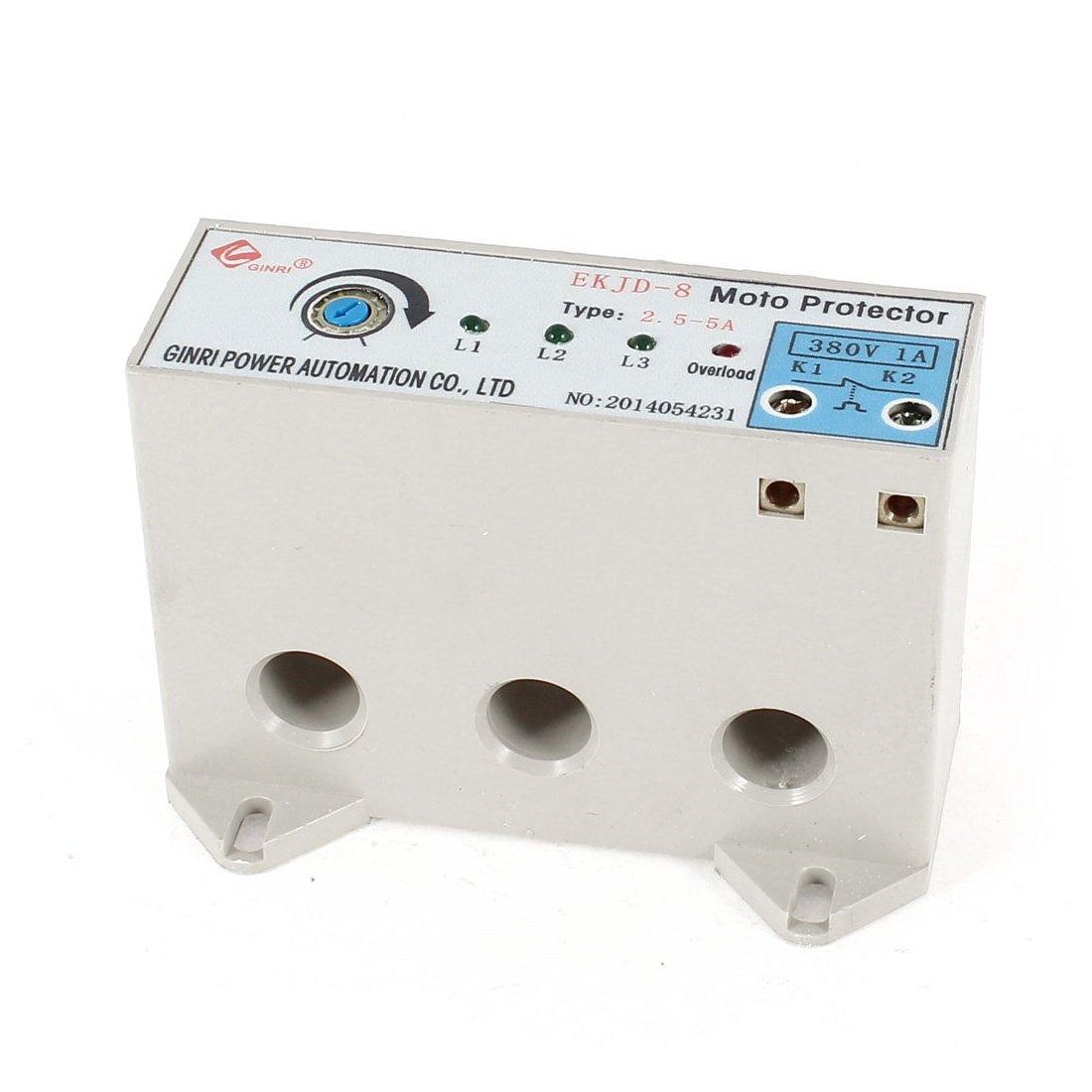 uxcell EKJD-8 3 Phase 2.5-5 Ampere Adjustable Current Motor Circuit Protector AC24-380V