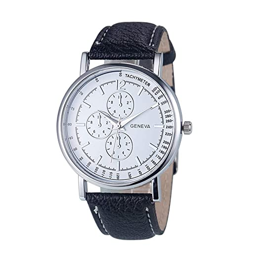 Relojes para Hombre Relojes de Pulsera de Cuero de Cuarzo analógico de Ginebra para Mujer. Relojes (Negro): Amazon.es: Relojes