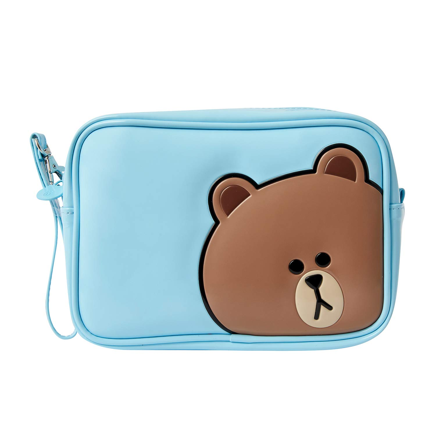 Line Friends Enamel Cosmetic Bag – BROWN Character Travel Pouch Organizer for Toiletry and Makeup, Sky Blue
