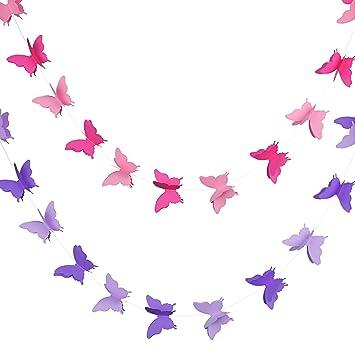 2 Piezas De Pancarta De Mariposa De Papel 3d Guirnalda Decorativa Colgante Para Boda Fiesta De Bienvenida A Bebé Cumpleaños Y Adornos Temáticos 118
