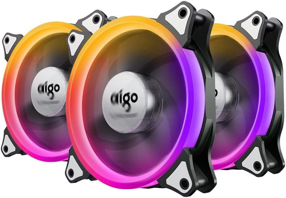 vifly Itchykoo Case Fan Aigo Aurora de 3 Pack RGB LED 120 mm High Airflow Adjustable Colorful Quiet Edition RGB CPU Coolers Radiator with Controlador