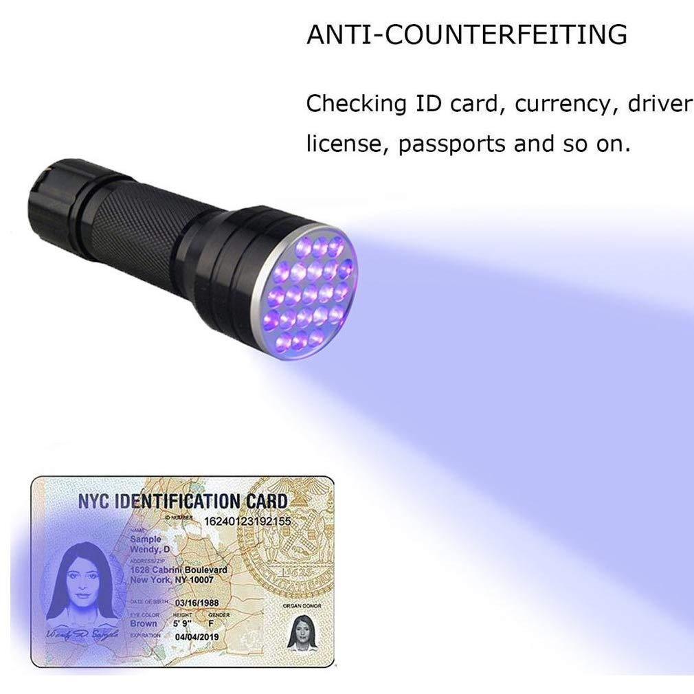 DWSFADA Mini Portable Flashlight Torch Light Lamp,21LED UV Ultra Violet