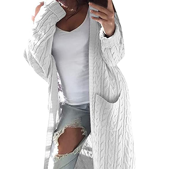 the best attitude 63638 c554e Strickjacke Kolylong Damen Elegant Verdickte Lang Strickjacke mit Kapuze  Herbst Winter Warm Strickmantel mit Tasche Oversize Hoodie Outwear Cardigan  ...