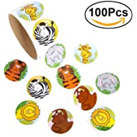 NUOLUX 1 Roll Colorful Fun Animal Stickers for Kids Great Party Favors Creative Reward Gift (100 Stickers)