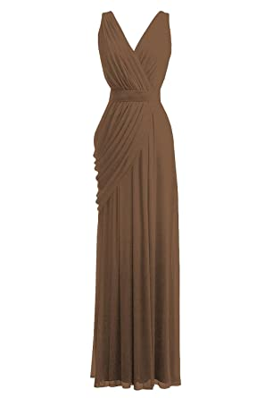 Orient Bride Bohemia Wedding Bridesmaid Dress Long Chiffon Prom Dresses Size 30W UK Warm Taupe