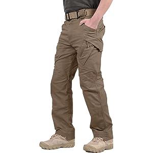 TACVASEN アウトドア メンズ カーゴパンツ ミリタリー 多機能 ロングパンツ トレーニング ズボン サバゲー 作業用 ブラウン XL