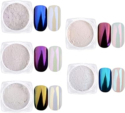 KUKA - Juego de purpurina en polvo para uñas, diseño de cola de sirena, color blanco iridiscente, para decoración metálica: Amazon.es: Belleza