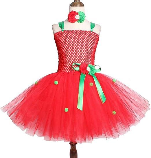 Falda para niños Vestido de Malla Falda de Fresa roja Disfraz de ...