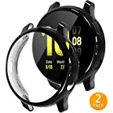 Tensea Compatible with Galaxy Watch Active 2 Case, 2 Packs Soft TPU Bumper Full Around Screen Protector Cover for Samsung Galaxy Watch Active2 40mm (Black, 40mm)