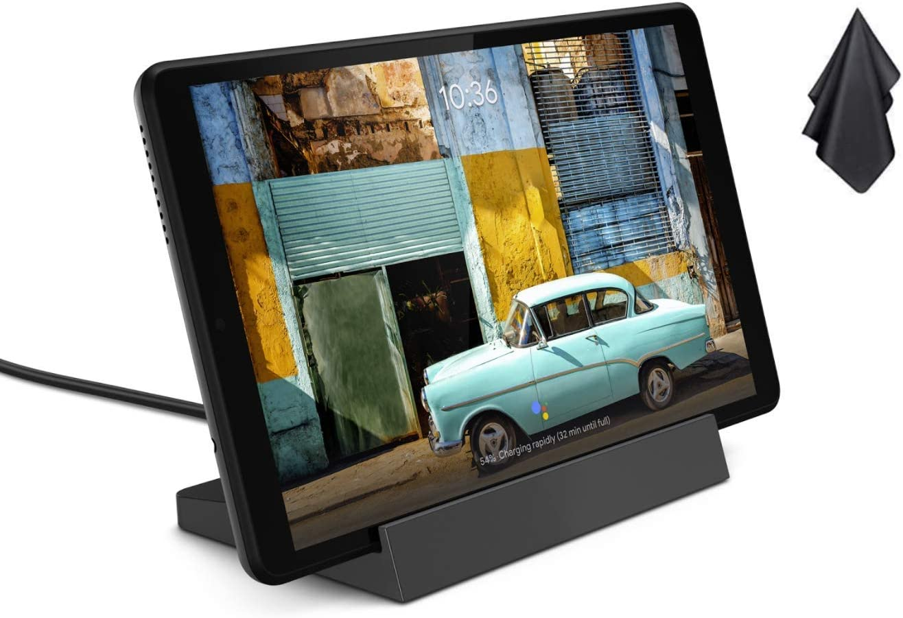 Lenovo Smart Tab M8 with Google Assistant, 8 inch 1280x800 IPS Touchscreen Android Tablet, Quad-Core Processor, 2GHz RAM, 32GB Storage, Long Battery Life, Android 9 Pie + Oydisen Cloth (Renewed)