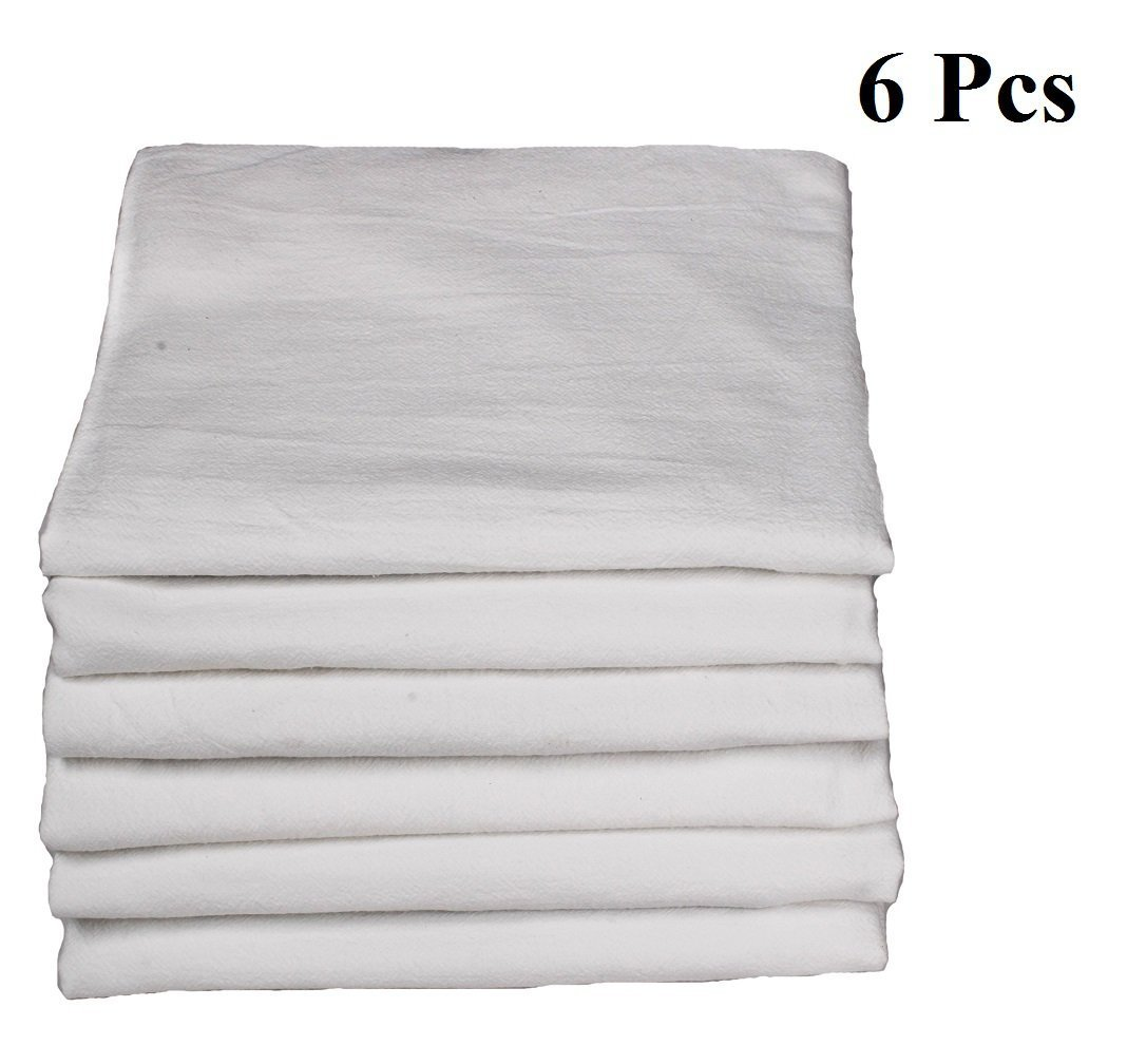 Premium Cotton flour sack towels - Bright White. Embossed effect on towel for High water absorbency. Easy wash and quick dry. the multi - purpose towel. Pack of 6