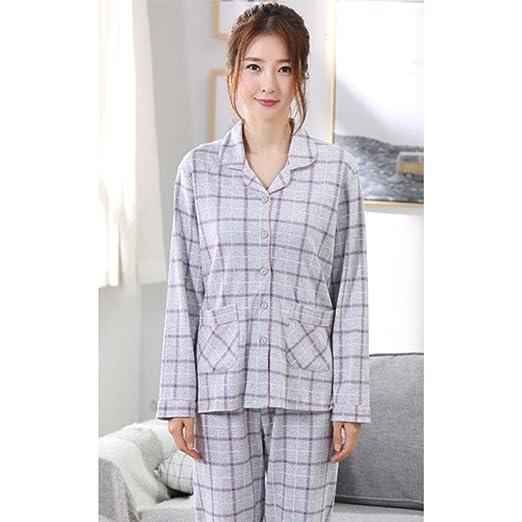 6436dcb95e moxin Otoño e Invierno Pijamas para señoras Set de Mangas largas Lattice  Home Service