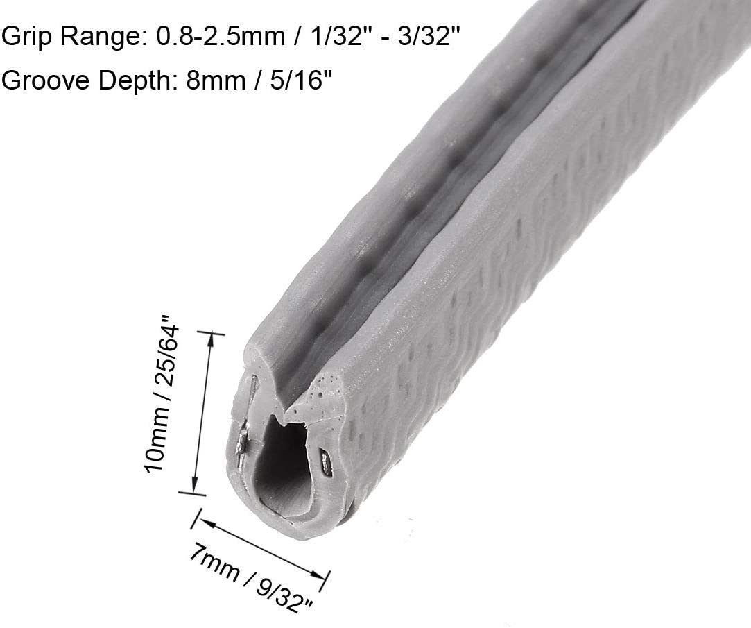 sourcing map Bordure U Joint Gris PVC Plastique U Canal Bord Protecteur Apte 1//32-3//32 Bord 5 Pieds Longueur