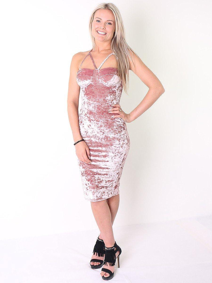 Ladies Crushed Velour Padded Bust Midi Dress US Size 6-12