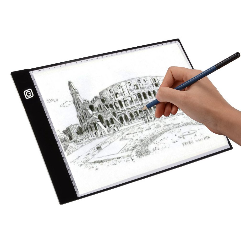 A4 LED Light Box,Ultra-thin Portable USB Powered LED Artcraft Tracing Light Pad Copy Board with Brightness Illumination Adjustable Tattoo Sketch Architecture Calligraphy Crafts For Tracing,Drawing