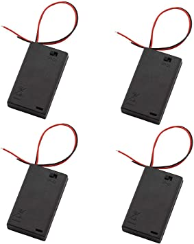 10pcs Battery Holder  Connector Enclosed Open Box Switch with Wires
