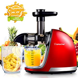 Slow Masticating Juicer,AMZCHEF Juicer Extractor Professional Machine with Quiet Motor/Reverse Function/Easy to Clean with Brush for High Nutrient Fruit & Vegetable Juice