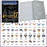 Temporary Tattoo Stencils Booklet Set 17 with 50 Different Self-Adhesive Reusable Stencil Designs by Custom Shop