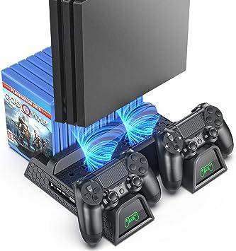 Todo para el streamer: OIVO Soporte Vertical con Ventilador de Refrigeración para PS4/PS4 Pro/PS4 Slim, Estación de Carga del Controlador con Indicadores LED y Almacenamiento para 12 Juegos