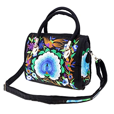 48aff57b27 Image Unavailable. Dolity One Blue Peony Embroidered Shopping Storage Tote  ...