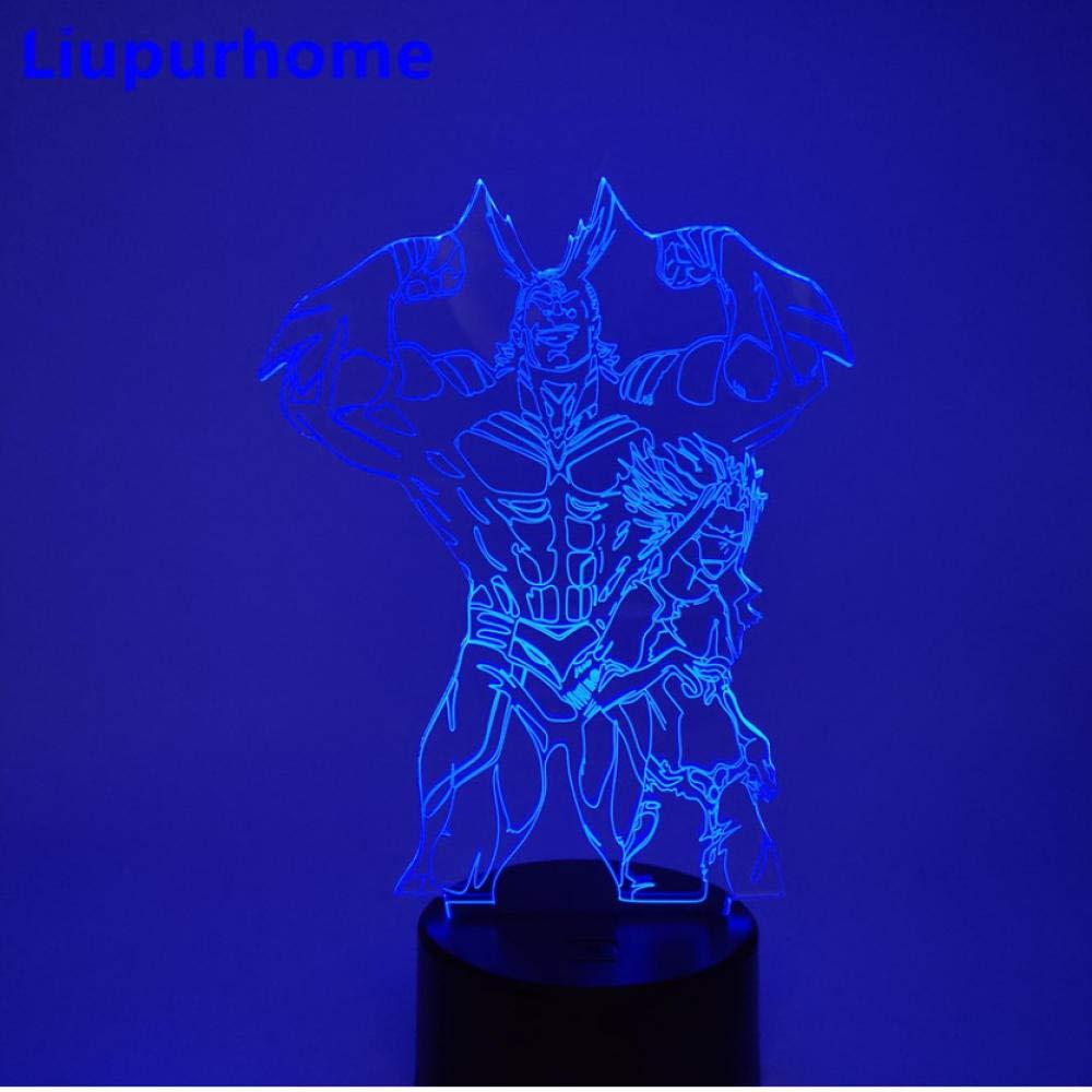 Luces de Navidad LED My Hero Academia Figura 3D Acr/ílico Luz de noche Boku no Hero Academia All Might Led L/ámpara de mesa Decoraci/ón del hogar Lampara