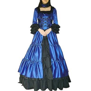 47a2381f05 Partiss Womens Square Neck Choker Ball Gown Masquerade Gothic Lolita Dress  Skirt