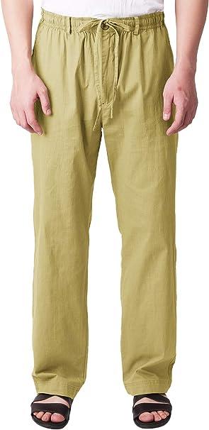 Men Linen Casual Loose  Cargo Shorts Pants travel beach Slacks classic Trousers