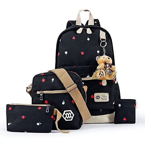 YiLianDa Backpack Mochilas Escolares Mujer Mochila Escolar Lona Bolsa Casual Para Chicas Bolsa De Hombro Mensajero Negro: Amazon.es: Zapatos y complementos