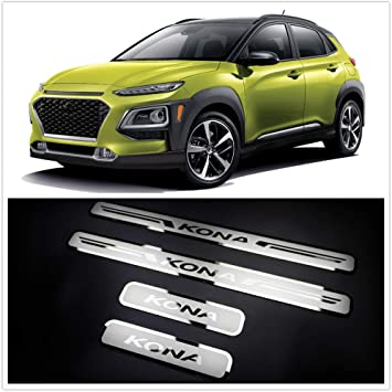 MTAWD Stainless Car Door Sill Scuff Plate Kick Pedal Protectors for Hyundai KONA 2018 2019