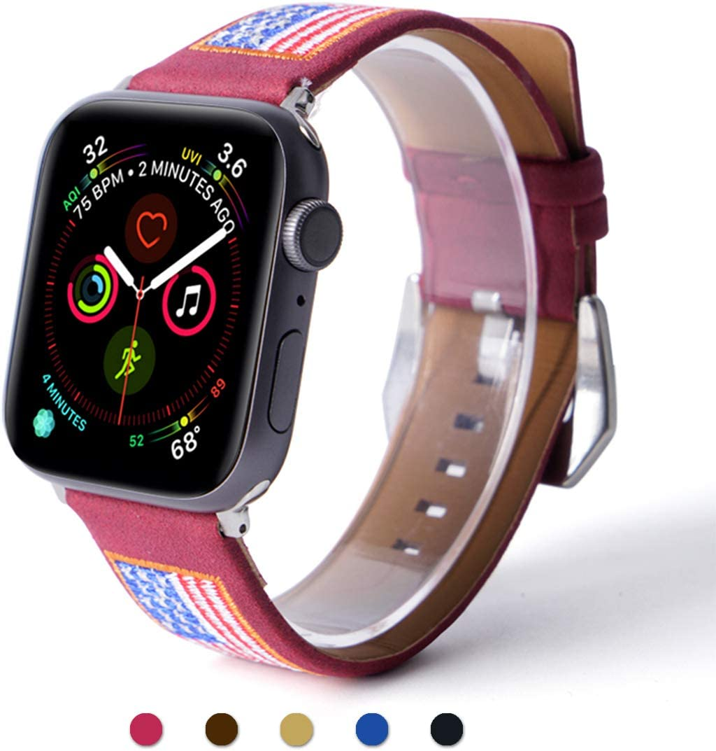 ARTCHE Suede Leather USA Flag Embroidery Watch Band for Apple Watch 38mm 40mm Replacement Strap American Flags Embroidered Stars Stripes Wristband Belt, Compatible with iWatch Series 1 2 3 4 5, Red