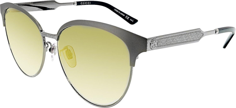 Gucci Damen Sonnenbrille GG0074SK 005, Grau (Ruthenium/Gold), 58