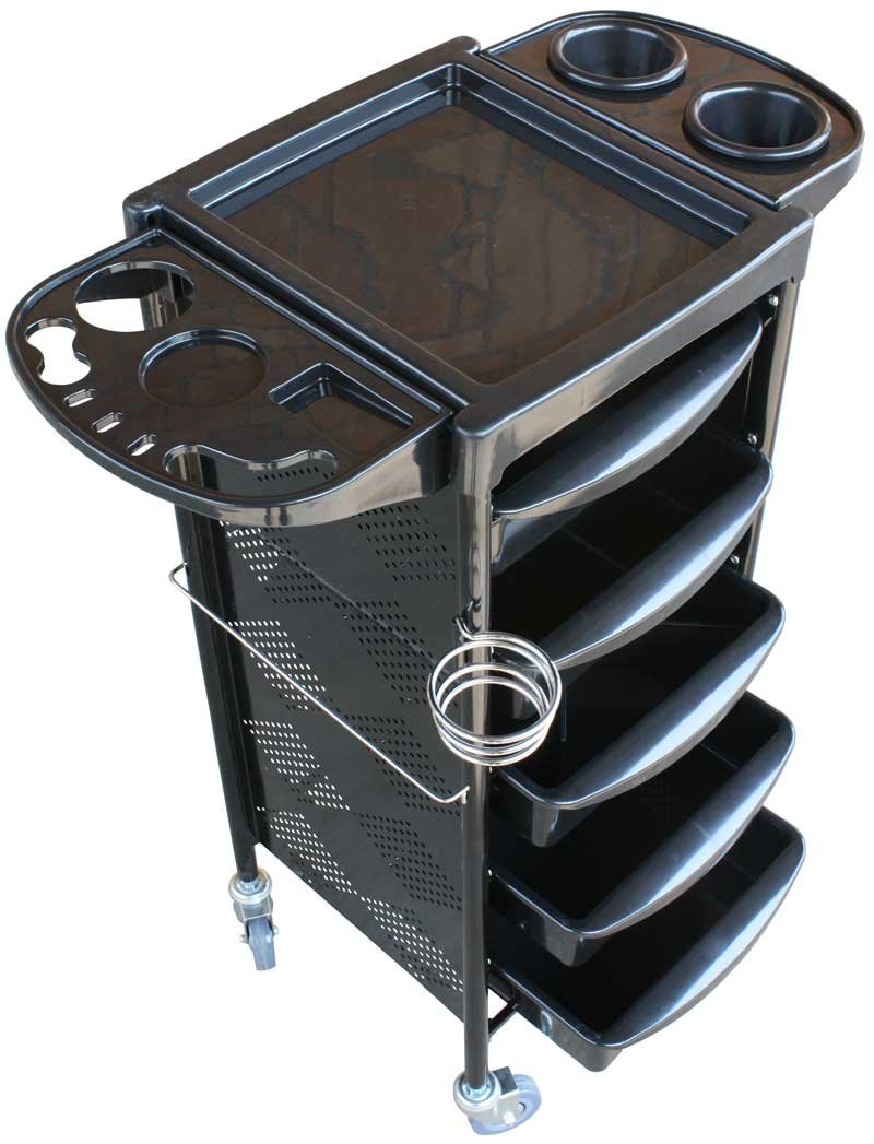 FIGARO rollbarer Gerätewagen Beistellwagen Rack mit 5 Schubladen sowie Föhnhalter Farbe schwarz