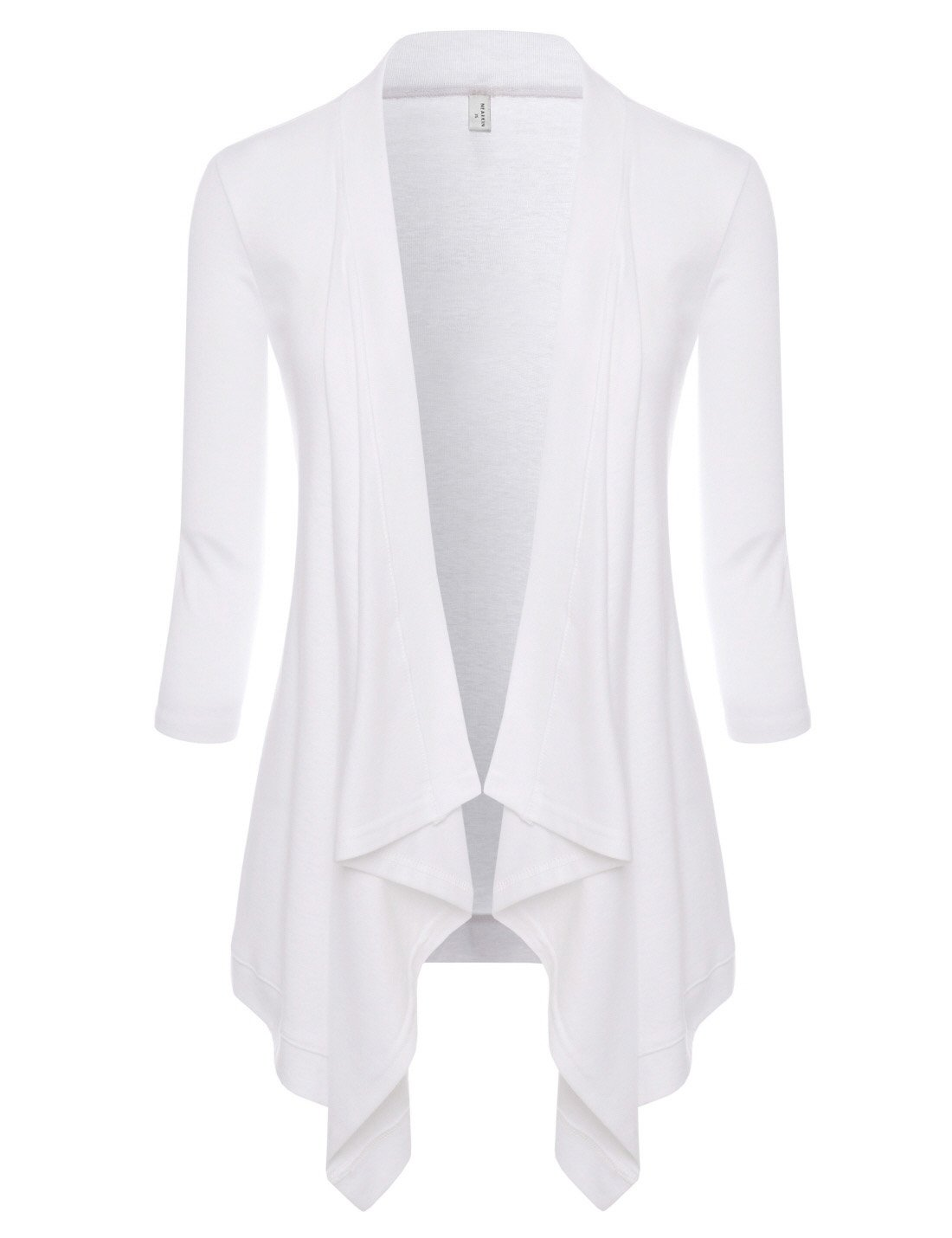 NEARKIN (NKNKWCD6927) Womens Open Front Slim Cut Look Daily Casual 3/4 Sleeve Cardigans WHITE US M(Tag size L)